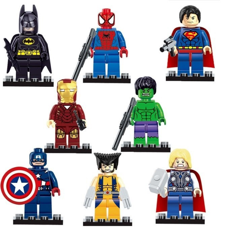 8pcs Super Heroes Avengers Compatible Lepining Marvel Captain American Batman Block Mini Action Figures Toys For Xmas Gifts