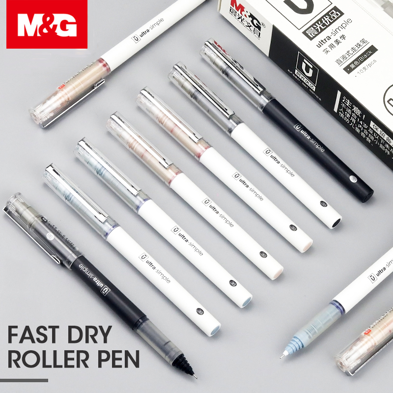 M&G Liquid Ink Roller Pens,0.5mm Extra Fine Rollerball Pen,Black Blue Red Pen,10Pcs/Box,Super Smooth & Fast Dry & Comfort Grip