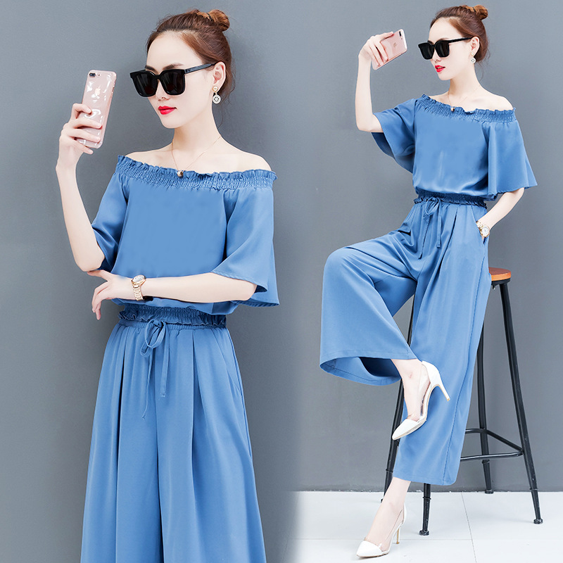 Hot Selling 2020 Summer Fashion WOMEN'S Suit Off-Shoulder High-waisted Loose Pants Two-Piece Set