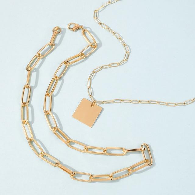 trendy geometric square necklace 4