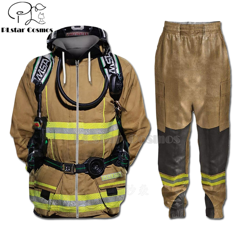 PLstar Cosmos 3D Print Firefighter Suit Fireman Cosplay Hoodies /Tops Match Pants/Shorts Men/Women Party Suit Men Streetwear-2