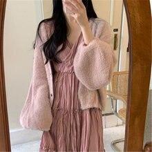 Милый пушистый розовый свитер для девочек; Зимняя Повседневная