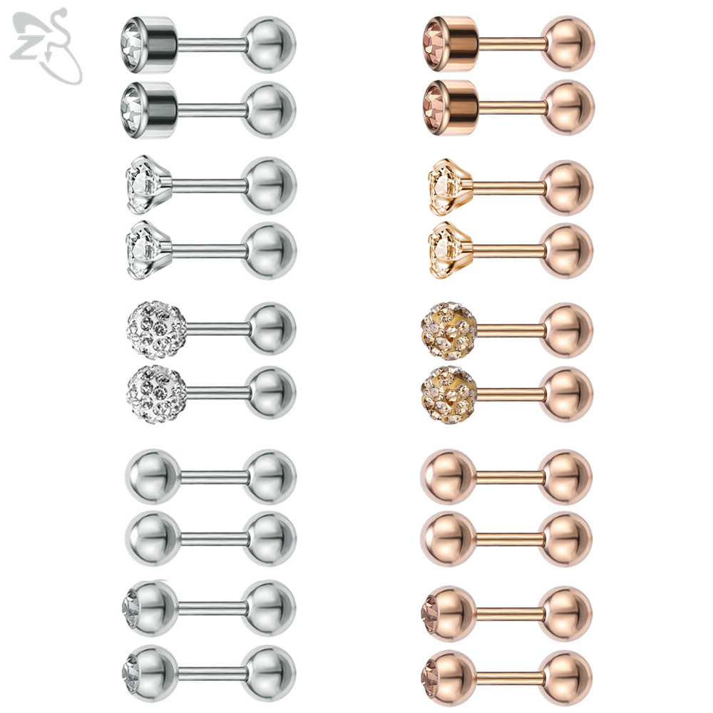 ZS 10 Pcs/lot 5 Style Crystal Stud Earrings For Women Girls Stainless Steel Tragus Helix Piercings Cubic Zirconia Earring Sets