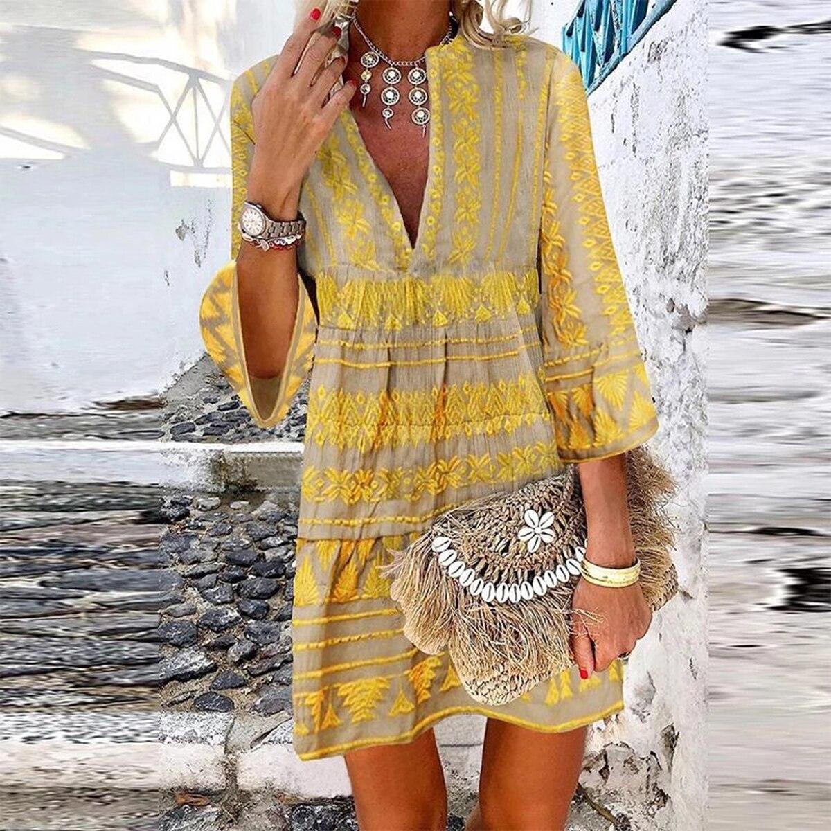 Jastie Vintage Casual Women Dress Chic Print Bohemian Beach Dresses V-Neck Long Sleeve Short Boho Dress Female Vestidos 2020