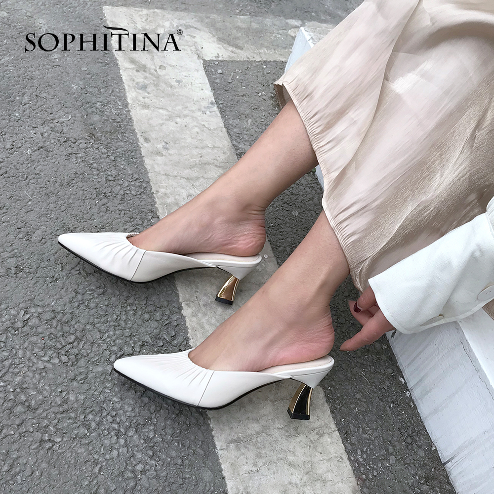 SOPHITINA Fashion Women Pumps Pleated Design 6.5cm Strange Heel Slingbacks High Quality Sheepskin Shoes New Mature Pumps SO417