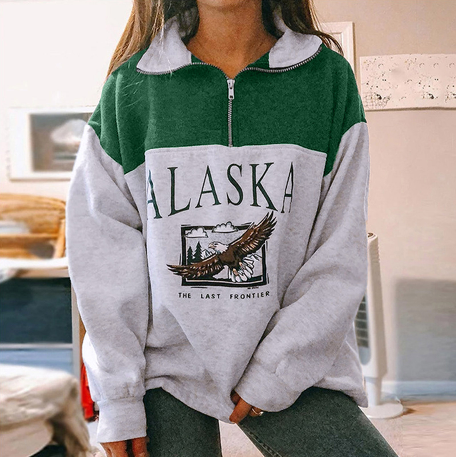 40# Women's Patchwork Hoodies tops Casual Long Sleeve Printed Zipper Long Sleeve Sweatshirts Tops Letter Vintage Sweatshirts топ