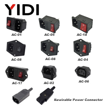 IEC320 C14 Inlet Plug Connector AC Power Socket 250V Red Lamp Rocker Switch 10A Fuse Female Rewirable Power Connector Plug black iec320 c14 inlet module plug switch male power socket w 2 pin switch