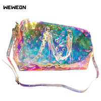 Holographic Handbag Luxury Bag Rainbow Laser Sport Bag Shine Women\'s Travel Gril PVC Luggage Transparent 2020 Lady Tote Hologram