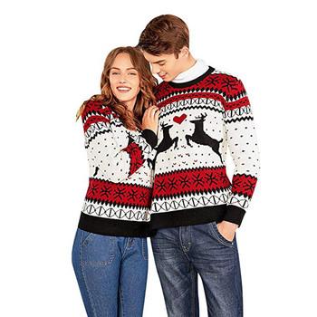 Zimowe pary sweter sweter dla dwóch osób sweter reniferowy pary sweter nowość świąteczny sweter dla kobiet Pull Femm tanie i dobre opinie CN (pochodzenie) YSZ80912492 Cartoon Na co dzień Poliester Komputery dzianiny O-neck Swetry Pełna Haft REGULAR STANDARD