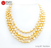 Qingmos Fashion Natural Pearl Necklace for Women with 7 9mm Baroque Orange Pearl Long Necklaces Jewelry Sweater 80'' Colar N6562