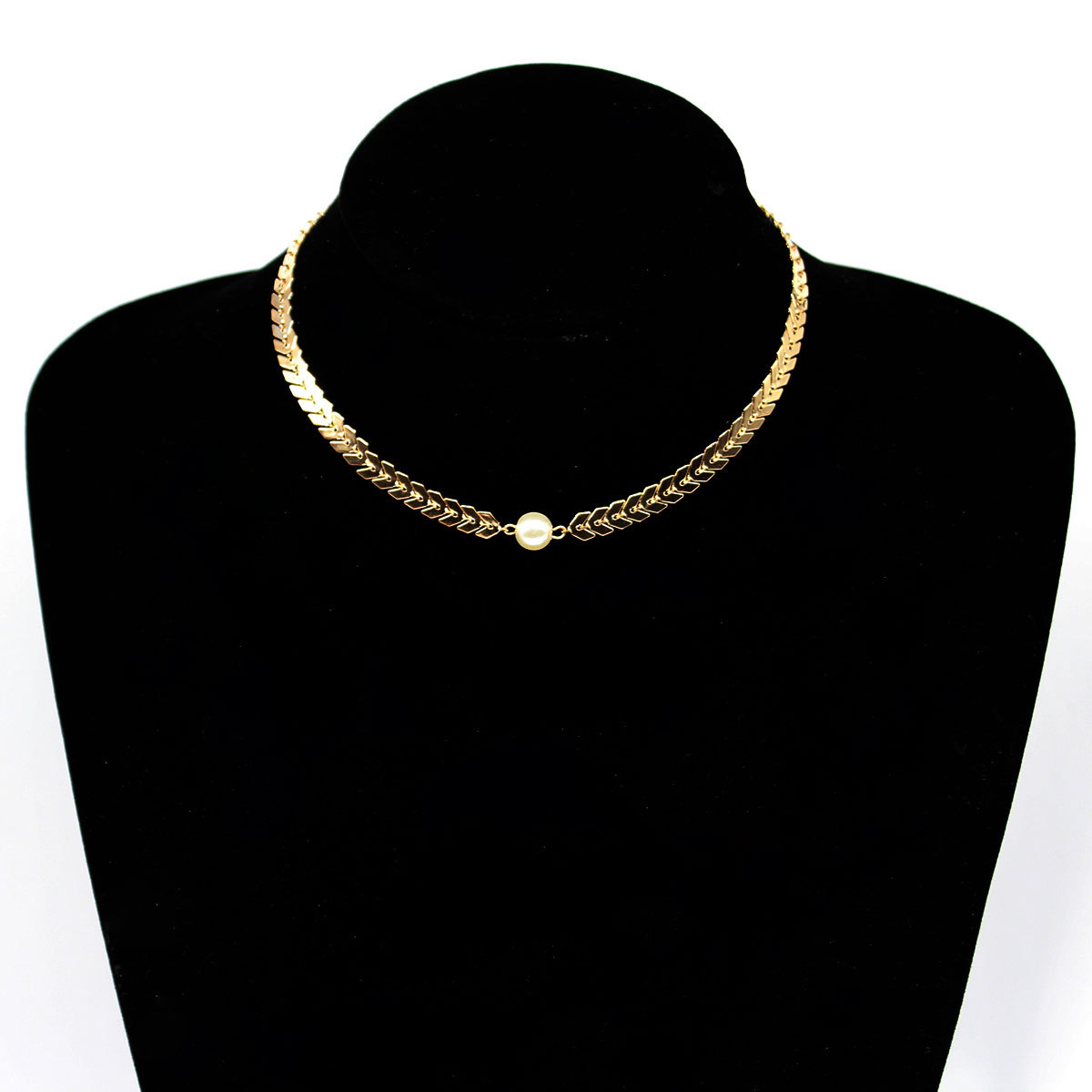 Fashion Personality Aircraft Chain Necklace Women Simple Trendy Pearl Clavicle Collares Jewelry