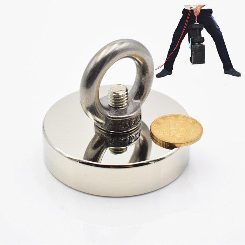 Купить с кэшбэком 1pc Strong Neodymium magnet super powerful search magnets hook power magnetic material fishing salvage permanent NdfeB holder