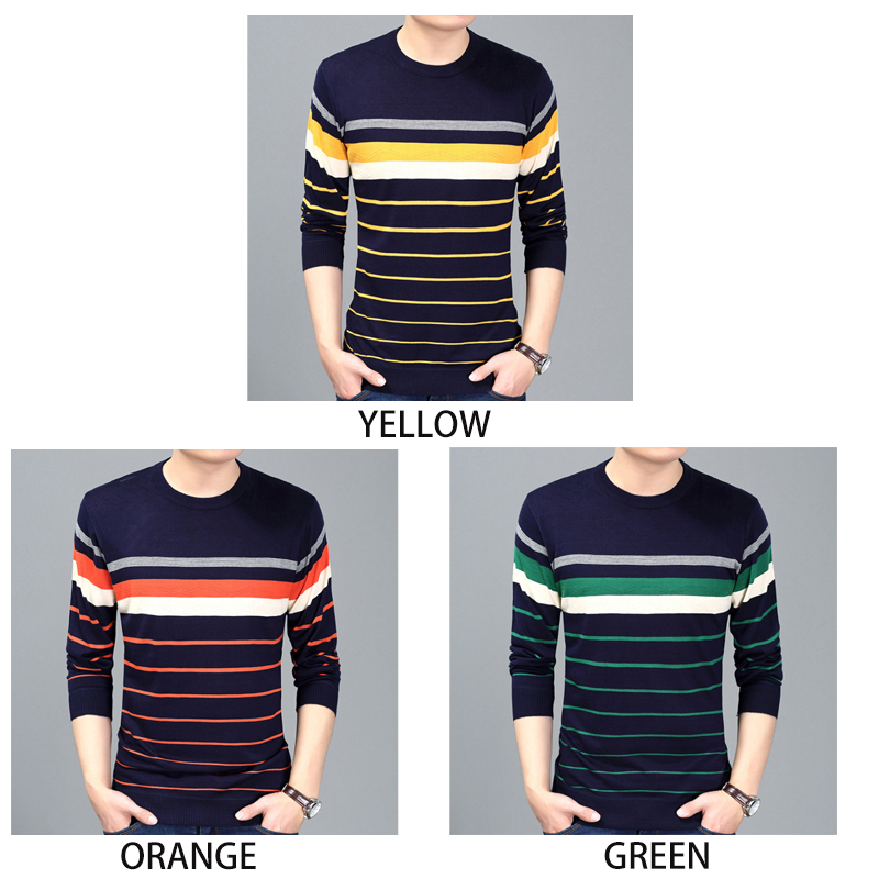 Men Clothes Spring 2020 New Brand Sweater Mens Pullover Striped Slim Fit Round Neck Sweater Men's Sweater Mens Yellow Sweater