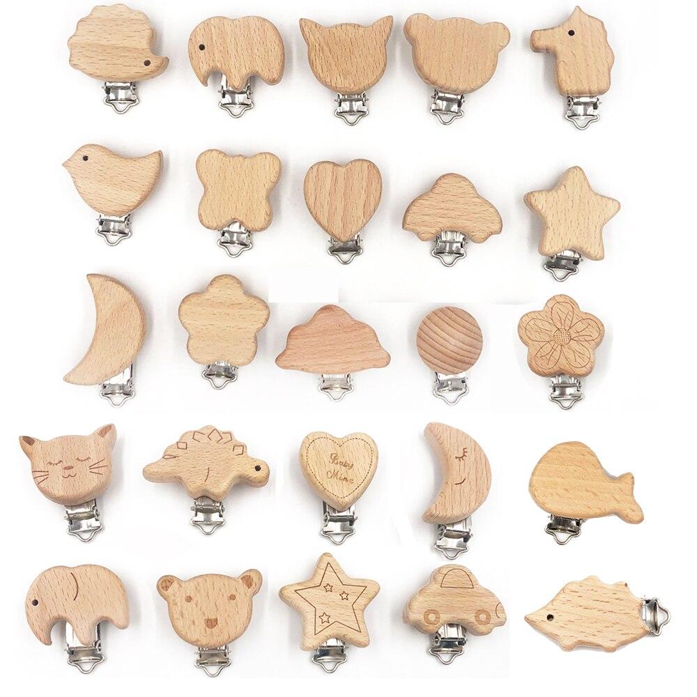 Natural wooden pacifier clip DIY pacifier clip Dummy clip pacifier chain
