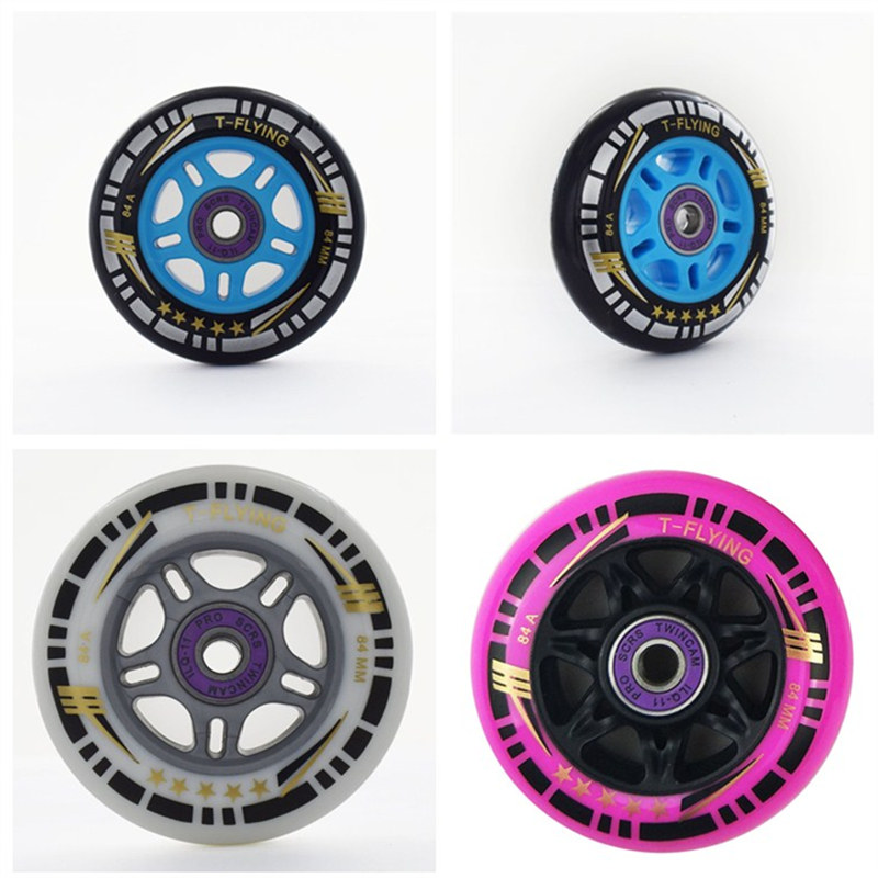 84mm 84A High Rebound Inline Skates Wheel for Powerslide for MPC for CITYRUN Blue Silver Pink Black Speed Race Skating 8 pcs/lot-in Scooter Parts & Accessories from Sports & Entertainment    1