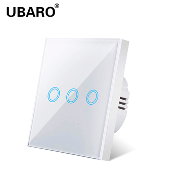 UBARO Light switch EU standard white crystal glass panel Touch sensitive switch Ac220v switch 3 Gang 3Way wall touch switch chint lighting switches 118 type switch panel new5d steel frame four position six gang two way switch panel