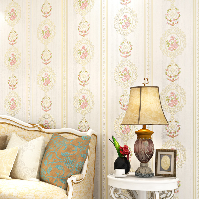 3D Bump Deep Embossing Mirror Flower Non-woven Wallpaper Bedroom Beauty Nail Salons Warm Pastoral Wallpaper