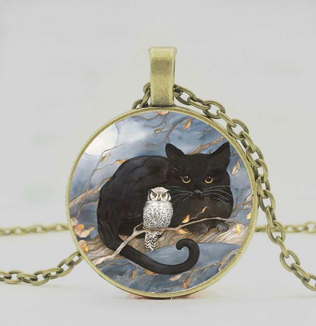 リトル黒猫、フクロウ柄ペンダントネックレスデザイナーのデザイン、ファッショナブルな男性と女性のネックレスギフト