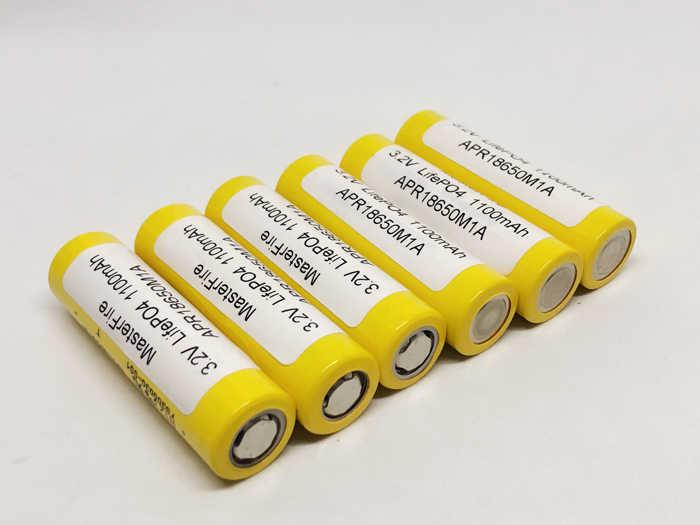 Masterfire 2 Pcs/lot 3.2V LifePO4 18650 1100 MAh APR18650M1A Baterai Isi Ulang Baterai 20A 15C untuk MOD Mech Pack Power alat