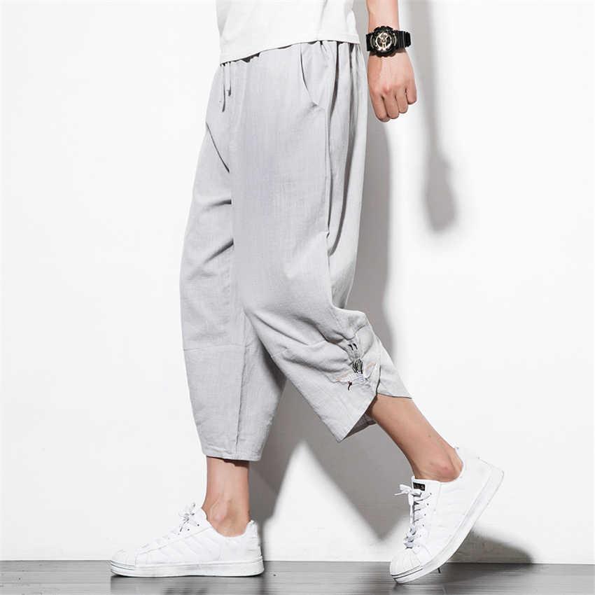 Pantalones Harajuku estilo japonés de talla grande para hombre, disfraz de samurai Grulla, pantalones capri holgados de moda japonesa para mujer, pantalones florales Haori Asian