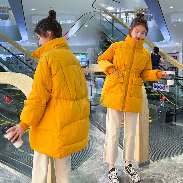 2021 New Winter women parkas fashion shiny fabric thicken windproof warm jackets coat outwear snow wear jacket S-XL 5