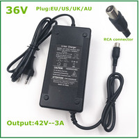 42V3A 충전기 42V 3A 전기 자전거 리튬 배터리 충전기 36V 리튬 배터리 팩 RCA 플러그 커넥터 42V3A 충전기