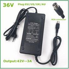 Saída 42v3a li ion carregador de bateria de lítio para 36v bicicleta elétrica bateria rca plug conector 36v li ion bateria de lítio carregador