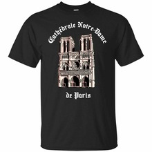 2019 New Arrival MenS Fashion Notre Dame Cathedral Fire Paris France T-Shirt Mens Tee Balck Short Sleeve