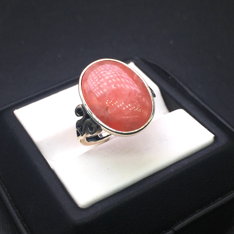 CSJ naturel Rhodochrosite anneau 925 en argent Sterling oval13 * 18mm Rhodonite femmes et dame mariage engagement fête boîte-cadeau