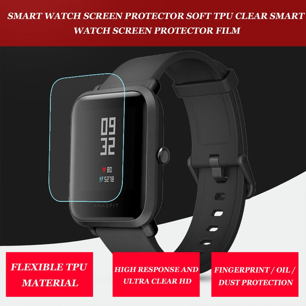 Soft TPU HD Clear Protective Film Guard For Xiaomi Huami Amazfit Bip BIT PACE Lite Smart Watch Full Screen Protector Cover Tool