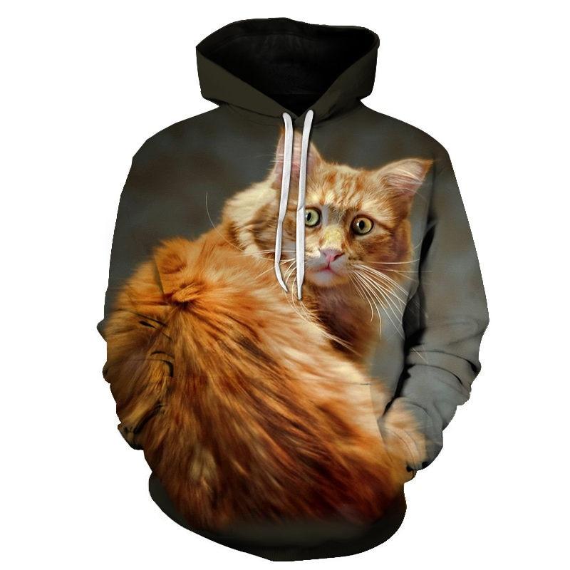 Women's Two Cat Sweatshirts Long Sleeve 3D Hoodies Sweatshirt Pullover Tops Blouse Pullover Hoodie Poleron mujer Confidante Tops 79