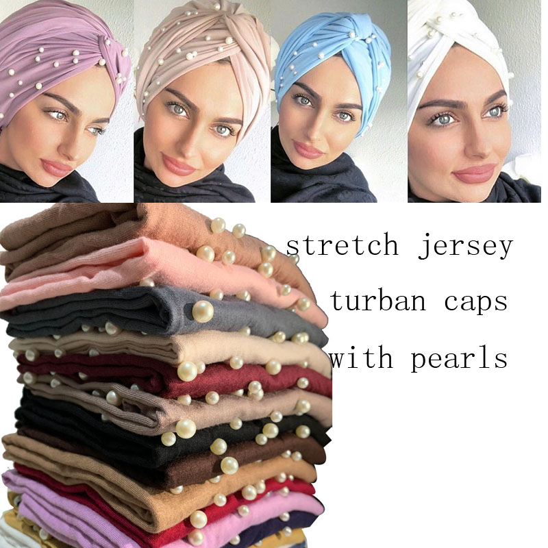 2020 Women Cotton Turban Hijab Caps Indian Hat Female Head Wraps Islamic Headscarf Bonnet  Pearls Turban Scarf Muslim Turbantes