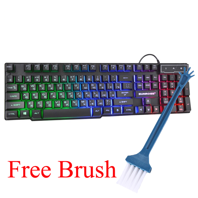 English Russian Wired Keyboard 104 Standard Key Caps RGB Light Gaming Keyboard for Gamer/Officer