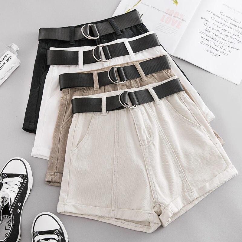 New Summer Autumn Casual Sashes Denim Shorts Women Wide High Waist Loose Leg Shorts Slim All-Match Sporting Shorts Female