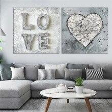 Amor corazón cuadrado pared arte pintura moderna hogar decorativo lienzo arte impresiones Vintage carteles estampados nórdico decoración del hogar