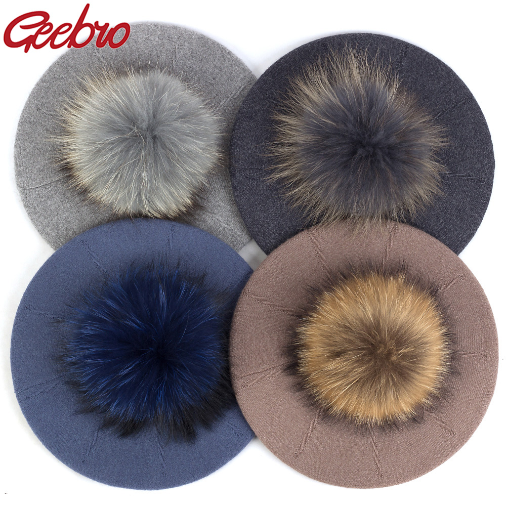 Geebro Female Winter 15 Cm Real Ball Pom Poms Hats For Women Girl's Knitted Cap Hat Thick Women'S Slouchy Skullies Beanies