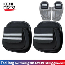 Black Motorcycle Lower Vented Leg Fairing Glove Box Tool Bag For Touring Street Glide Road Electra CVO 2014-2019