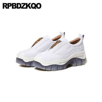 women creepers platform shoes elevator genuine leather leisure thick sole wedge slip on pink luxury china designer white muffin