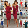 2018 Europe And America Autumn And Winter Hot Selling WOMEN'S Dress 7 Colors 6 Code-Style Lace-up Belt Crew Neck Long Sleeve Sli 1