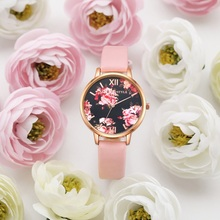 Fashion Women Wrist Watch Pink Flower Dress Quartz Clock Leather Strap Bracelet Female Watch Zegarek Damski Relogio Feminino relogio feminino king and queen chess couple watch women delicate leather strap wrist watch quartz dress watch montre homme