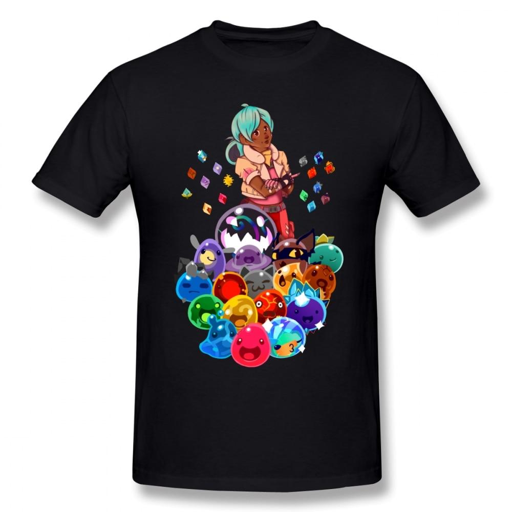 Slime Rancher T Shirt Pile O Slimes T-Shirt Streetwear Short Sleeve Tee Shirt Men 100% Cotton Graphic Awesome Tshirt