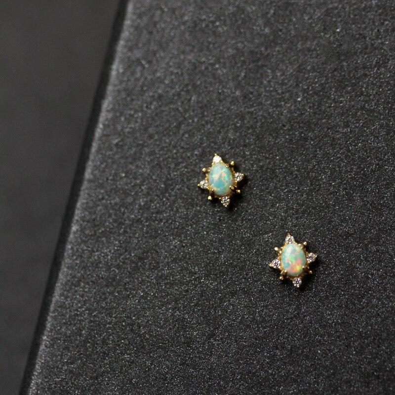 Silvology 925 Sterling Silver Nature Opal Small Stud Earring for Girls Chic Luxury Zircon Mini Earring Lady Women Simple Jewelry