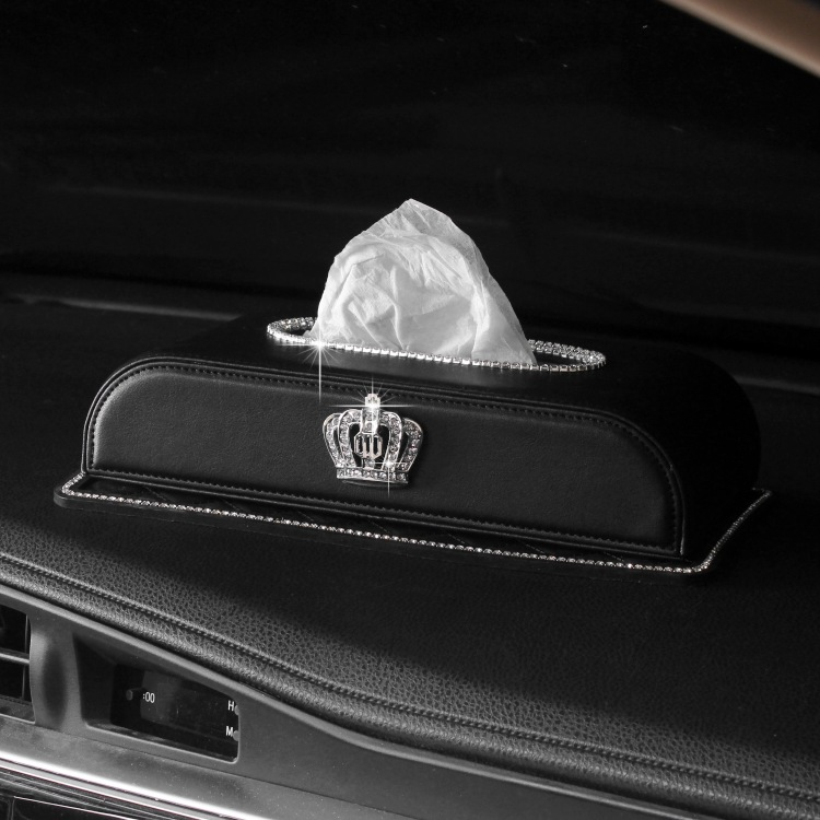 With Diamond Car Mounted Tissue Box Crown Diamond Set Creative Car Seat Type Paper Extraction Box Can Jin Zhi Tao Car Interior T