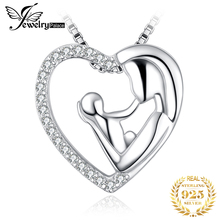 JewelryPalace 925 Sterling Silver Pendants Necklace Mother and Child Heart Cubic Zirconia Pendant Gifts For Women Without Chain jewelrypalace authentic 925 sterling silver pendants necklace crown wings honey bee pendant without chain cubic zirconia jewelry