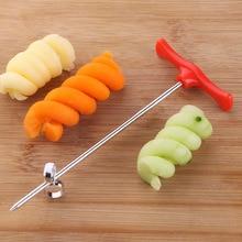 1 ud. Rebanador de tornillo en espiral Manual de plástico PP + alambre de acero giratorio de verduras de pepino de patata zanahoria herramienta de tallado en espiral