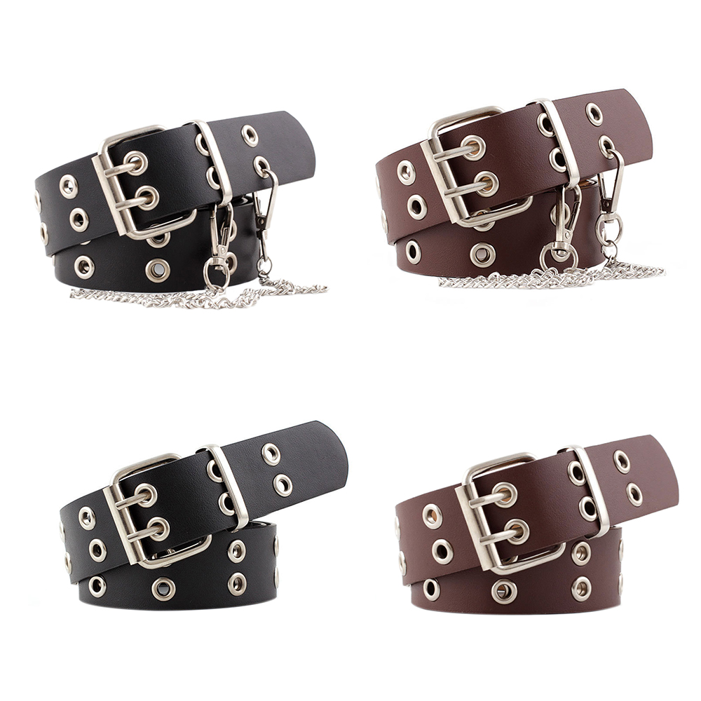 Double Eyelet Grommet Women Belt Imitation Leather Pin Buckle Belt New Punk Wind Jeans Fashion Individual Decorative Belt Chain