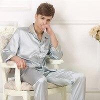 Spring Brand Hot Selling Silk Leisure Set 100 Silk Long Sleeve Long Pants Korean Men's Silk men pajamas set mansleepwear