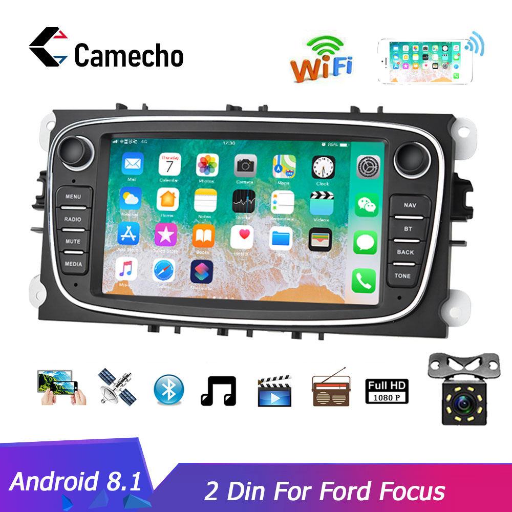 Camecho Android 8.1 2 Din Car Radio GPS Multimedia Player For Ford Focus 2 Mk2 EXI MT 3 S-Max Mondeo Galaxy II Kuga C-Max NO DVD(China)