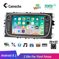Camecho Android 8.1 2 Din Car radio Multimedia Video Player Universal GPS auto for Ford Focus Mondeo C MAX S MAX Galaxy II Kuga