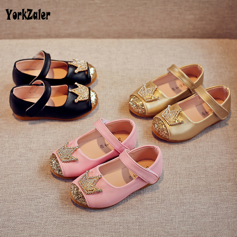 Yorkzaler Spring Kids Princes Shoes For Girls Children Girl Wedding Shoe Gold Black Crown Sequins Baby Waterproof Footwear
